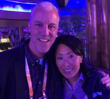 Mark Valutkevich and Audrey Parks (Salinas Valley Memorial Healthcare System) at MEDITECH's customer appreciation event at HIMSS 2019