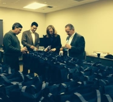 Preparing Holiday Gift Bags for Homeless Shelter